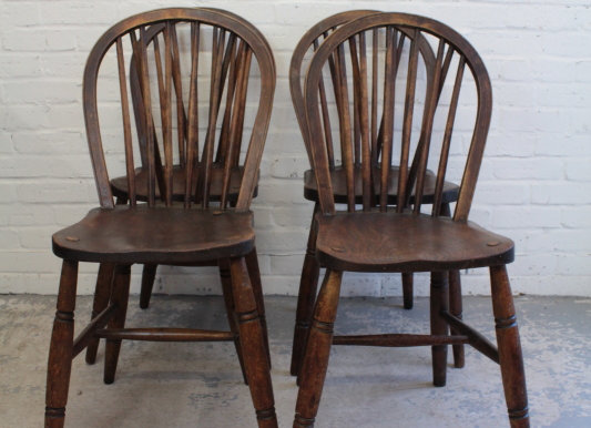 Set of 4 Beech and Elm 1940's Kitchen Chairs