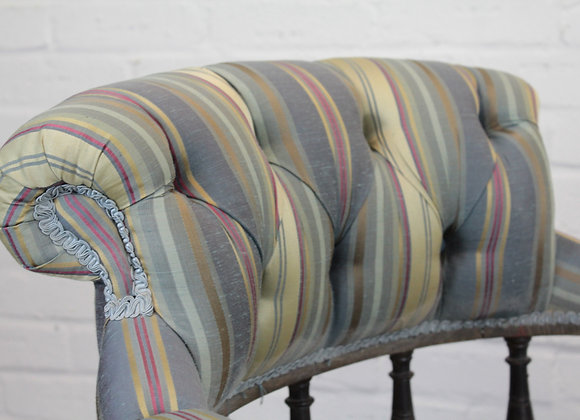 Victorian Striped Button Back Armchair
