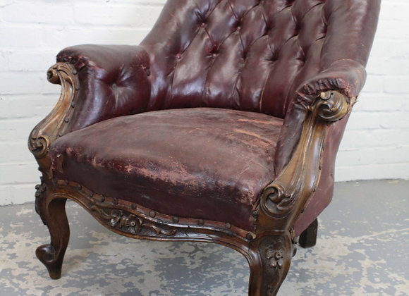Maroon Leather Deep Buttoned Armchair