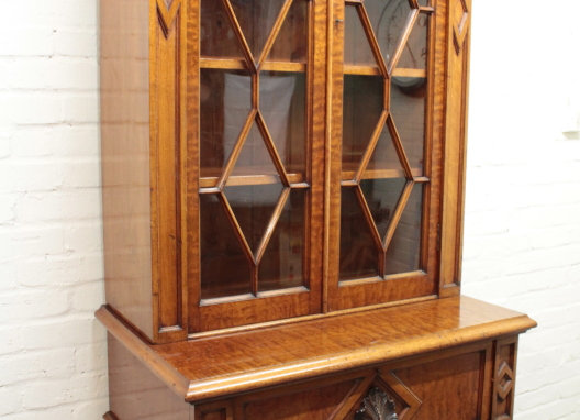 Victorian Fiddleback Library Bookcase
