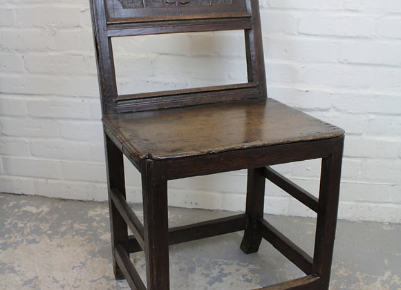 English Joined Oak Panel Back Chair