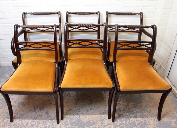 Set of 6 Regency Style Mahogany Dining Chairs