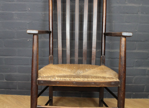 Arts and Crafts Rush Seated Armchair