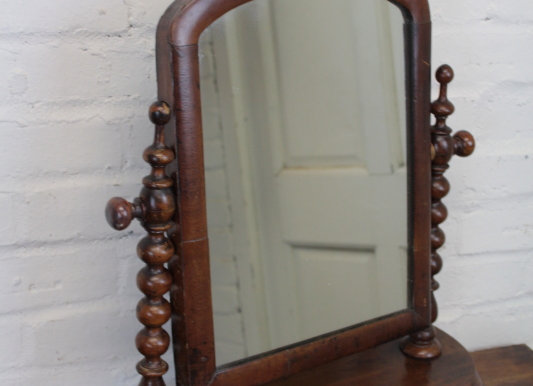 Mahogany Vanity Swing Mirror with Semi-Circular Base