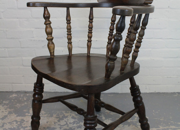 Early C20th Beech and Elm Smokers Bow Chair