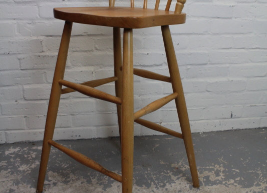 Light Beech Wood High Stool Chair