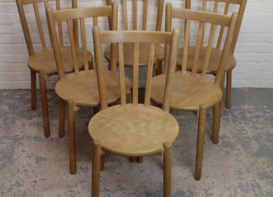 Set of 6 Ash Bistro Cafe Dining Chairs