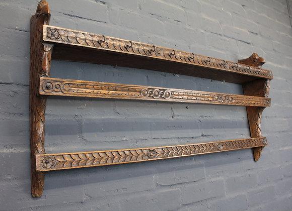 Carved Oak Wall Shelf Hook Rack