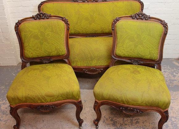 Walnut Rococo Style Salon Suite