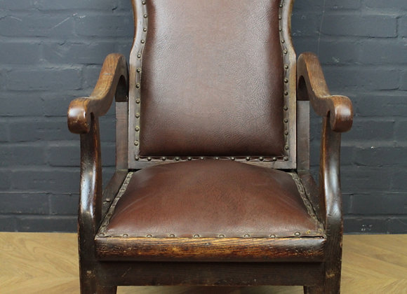 Oak and Leather Reclining Armchair