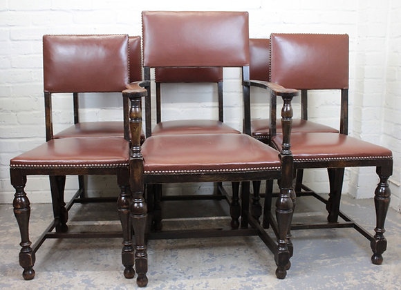 Set of 6 Oak Dining Chairs in Brown Vinyl