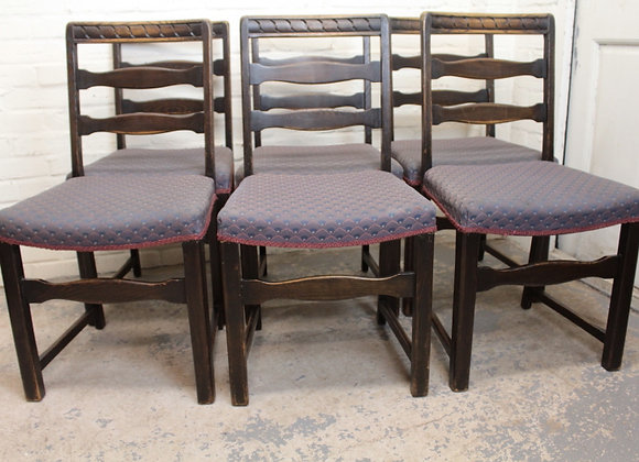 Set of 6 Early C20th Ladder Back Chairs