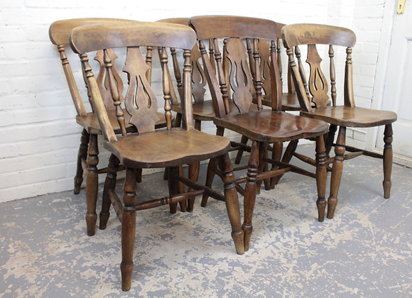 Set of 6 Victorian Elm and Beech Kitchen Chairs