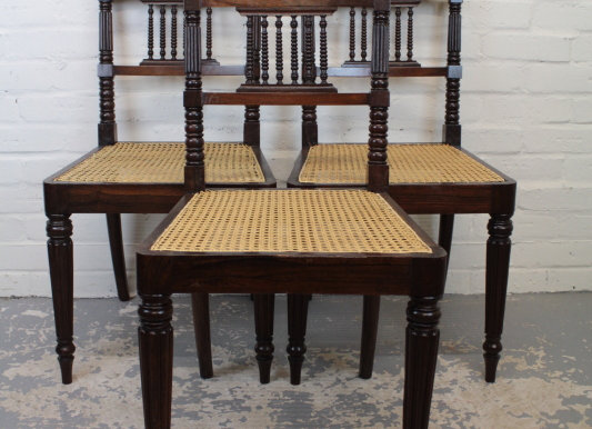 Set of 3 Victorian Grained Rosewood Chairs