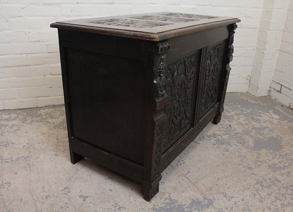 C19th Oak Chest with Demi Figure Appliques