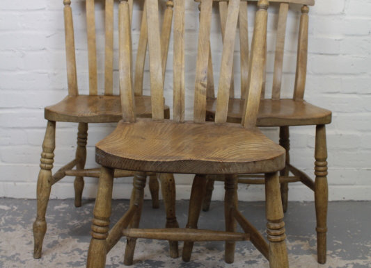 3 Victorian Slat Back Chairs