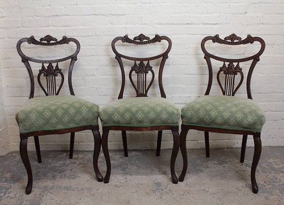 Set of 3 Fluted Back Dining Chairs