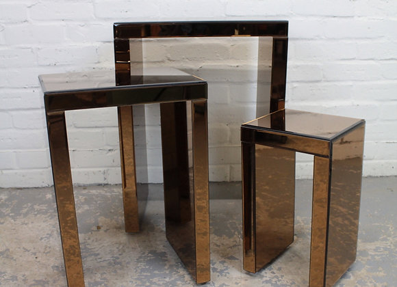 Modern Nest of 3 Mirrored Tables