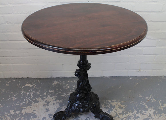 Cast Iron Pub Table with Mahogany Top