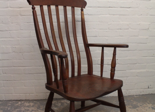Late Victorian Elm and Beech High Back Elbow Chair
