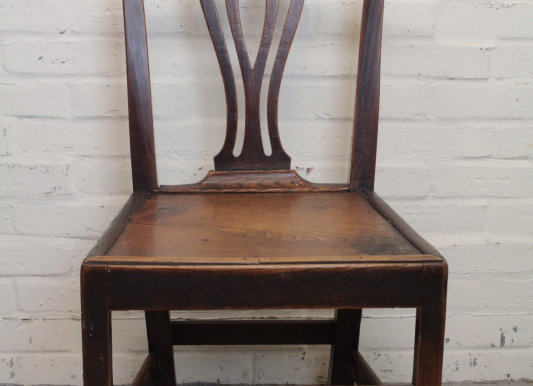 Single Chippendale Style Elm Seated Chair