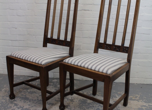Tall Back Upholstered Hall Chairs