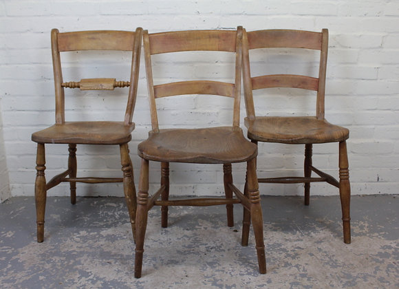 Group of 3 Oxford Style Victorian Chairs