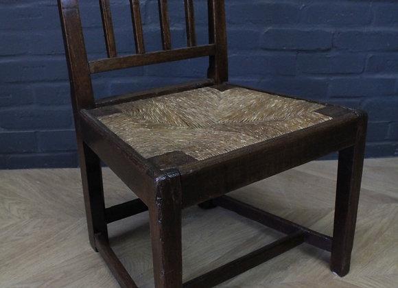 George III Oak Rush Seated Chair