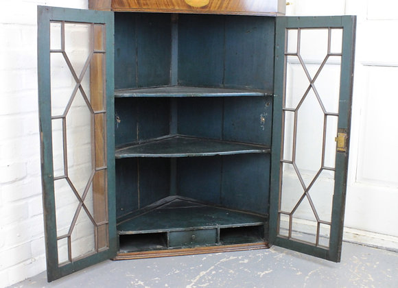 Victorian Oak Astral Glazed Corner Cupboard