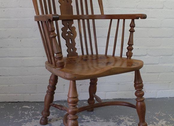 Elm Seated Windsor Armchair with Crinoline Stretcher