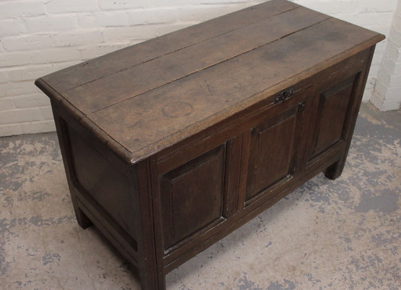 C18th Oak Blanket Chest with Three Panel Plain Frontage