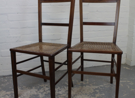 Pair of Edwardian Satinwood Inlaid Strung Chairs