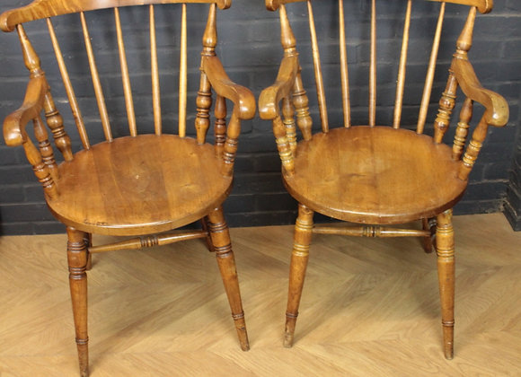 Pair of Beech wood Penny Elbow Chairs