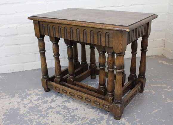 Nest of 3 Antique Style Oak Rectangular Tables