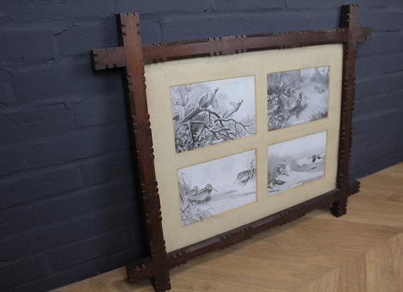 Wooden Frame with 4 Wild Bird Scenes
