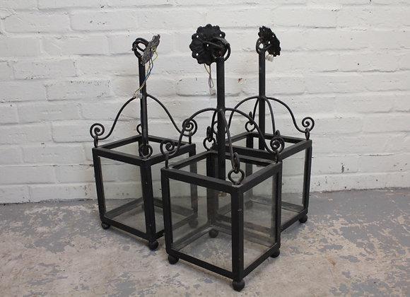 3 Wrought Iron Matching Lanterns