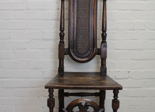 C19th Queen Anne Style Tall Hall Chair