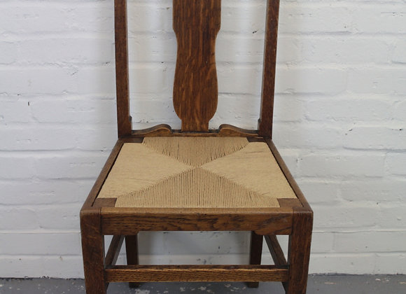 Arts & Crafts Oak Rush Seated Chair