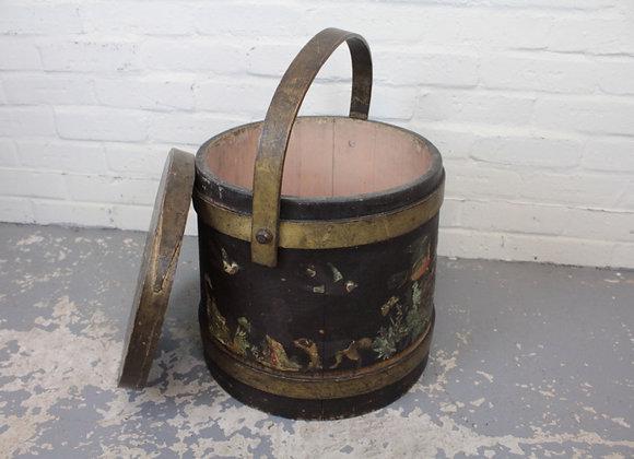 Decorative Painted Lidded Bucket