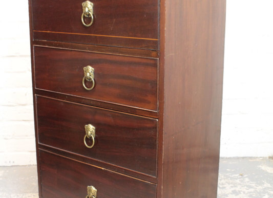 Mahogany Campaign Style Chest of 4 Drawers