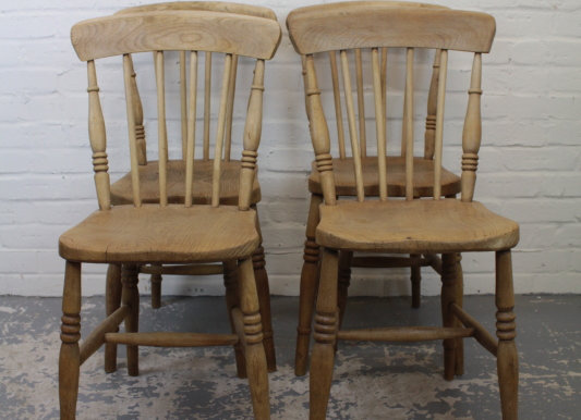 Set of 4 Victorian Elm Seated Stick Back Chairs
