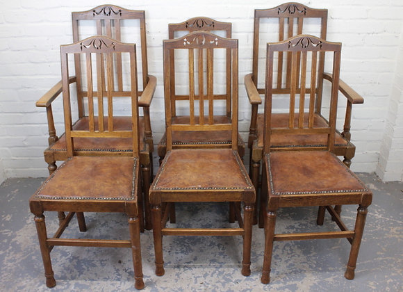 Set of 6 Arts and Crafts Oak Dining Chairs