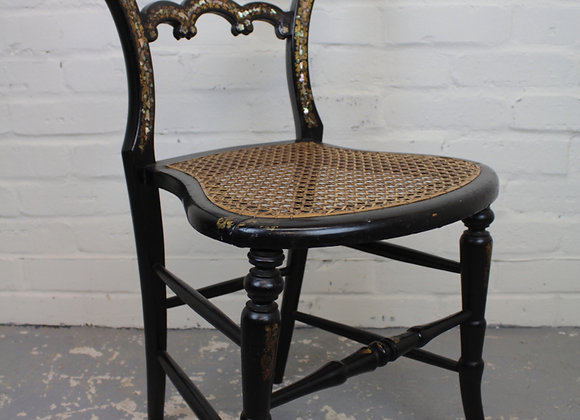Ebonised Frame Cane Seated Single Chair