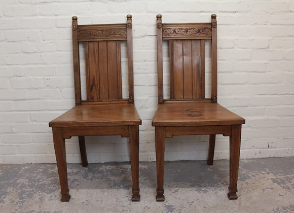 Pair of Victorian Pitch Pine Hall Chairs