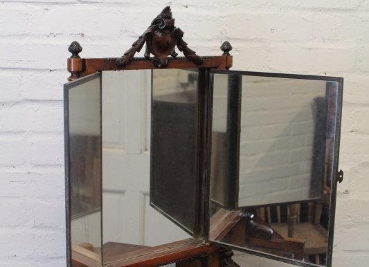 C19th French Folding Triptych Toilet Mirror