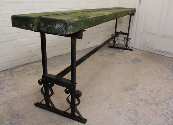 Long Pine and Wrought Iron Bench