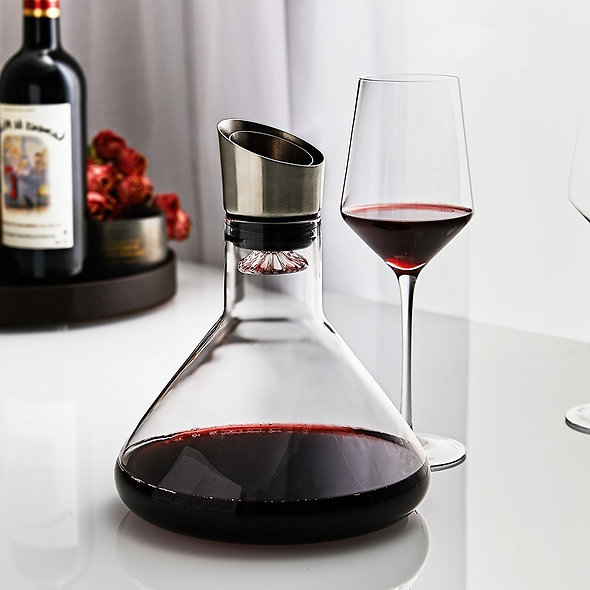 Fast Breathing Wine Decanter With Stainless Steel Aerator Lead-Free