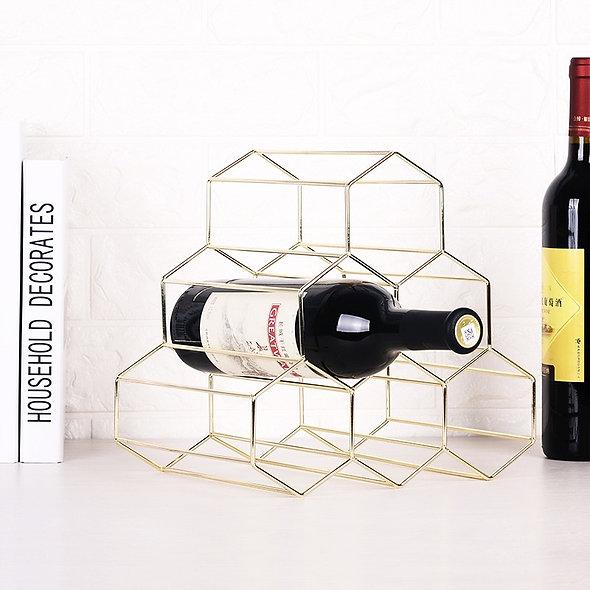 Geometric 6 Grids Wine Rack Wine Shelf Metal Grape Wine Rack
