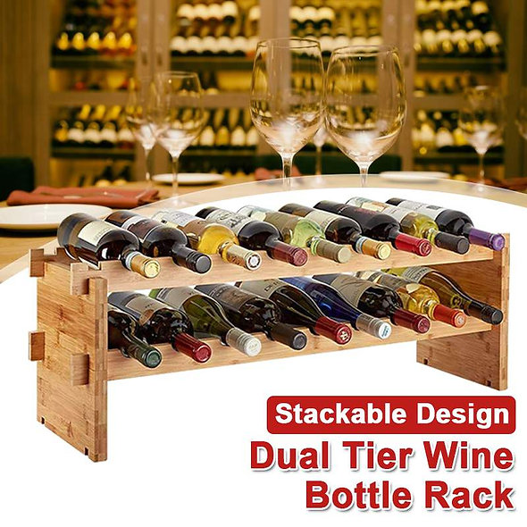 Pine Wood Material Superimposed Double-Layer Wine Rack