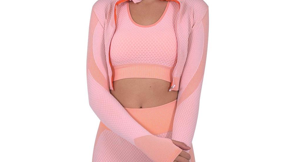 Pink seamless jacket w hand cutouts